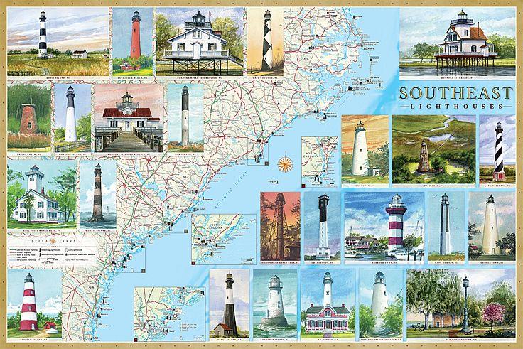 southeast lighthouses illustrated map guide. Black Bedroom Furniture Sets. Home Design Ideas