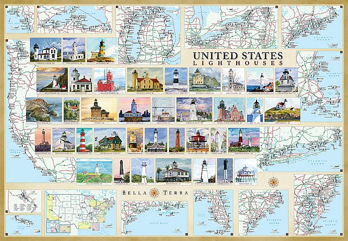 Lighthouses of the United States Map