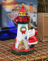 Lighthouse and Santa Ornament