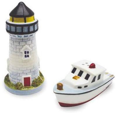 Lighthouse & Lobster Boat Salt and Pepper Shaker Set
